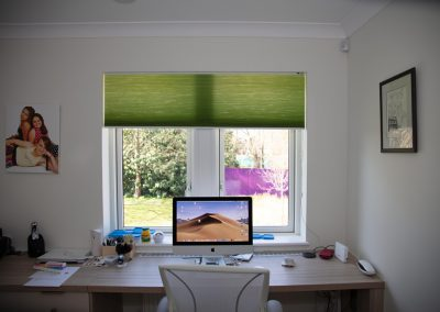 Green pleated blind at office window
